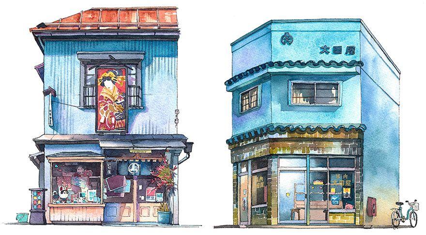 Des Aquarelles De Boutiques De Tokyo Par Mateusz Urbanowicz