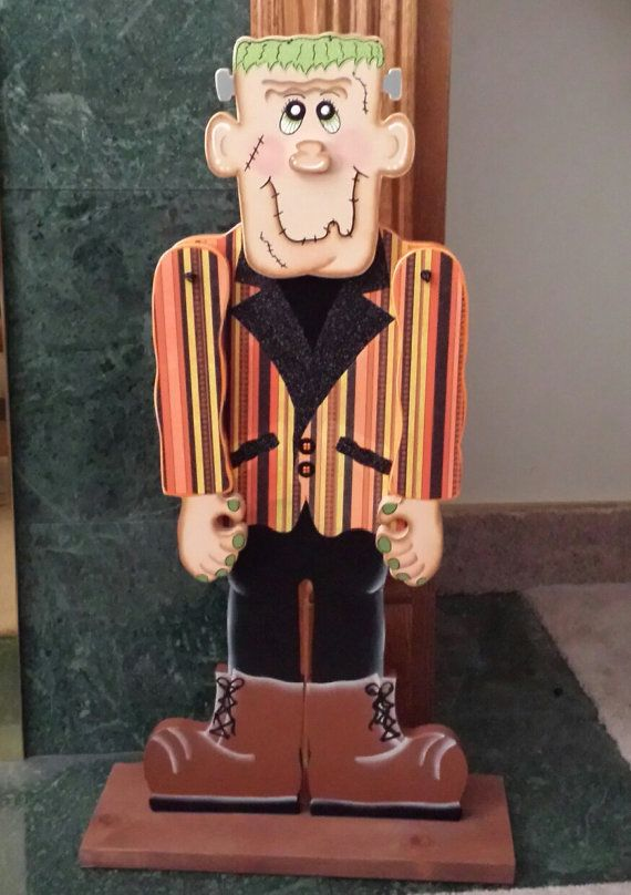Bring this adorable Fabulous Frankie into your home for Halloween. Frankie has been cut from 3/4 pine wood. He has been hand painted and