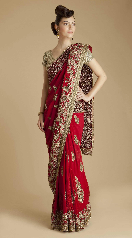 Varun Bahl Red Georgette Paisley Sari   Wedding Ideas   Pinterest ...