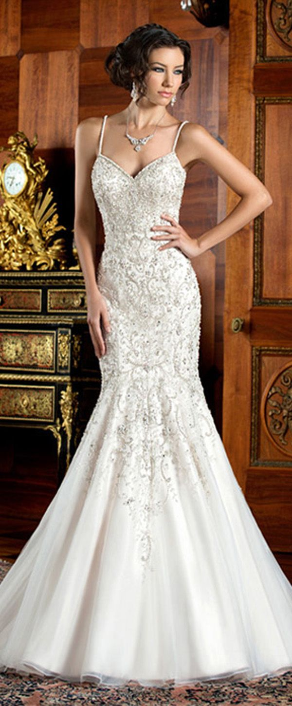 bcf75c6fede Elegant Tulle Spaghetti Straps Neckline Natural Waistline Mermaid Wedding  Dress With Embroidery   Rhinestones