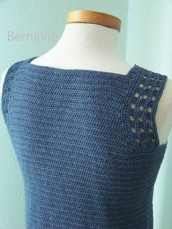 Dril de algodón azul de encaje algodón crochet por Berniolie ...