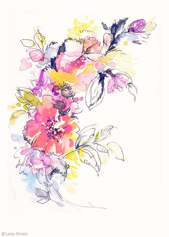 Bright Watercolor Flower Painting Abstract Floral Pink Red Yellow Print Art Modern Wall Decor Illustration Artwork Colorful Plants