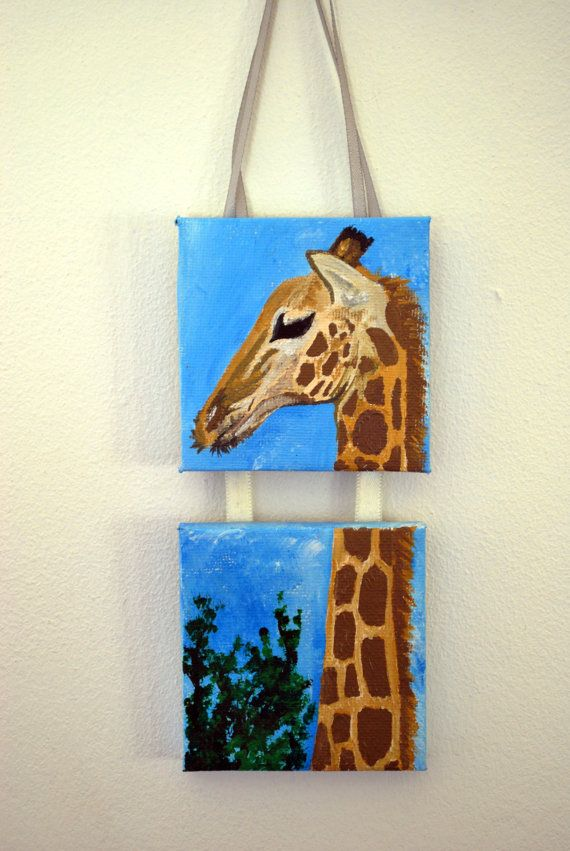 Giraffe Mini Canvas Painting Acrylic With Ribbon Perfect For A