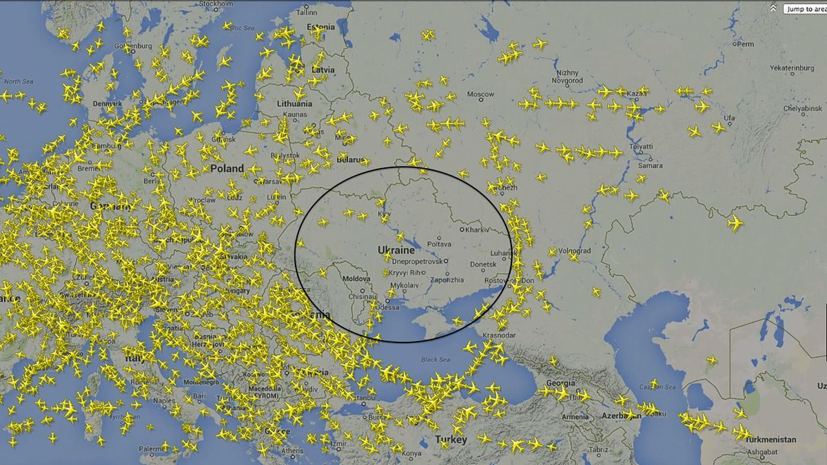 Map Shows Empty Ukrainian Airspace After MH17 Disaster
