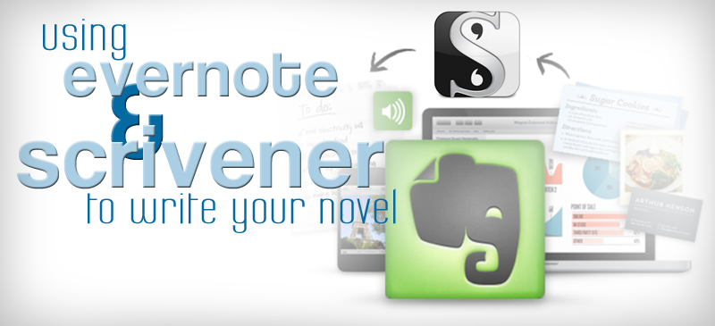 Using Evernote and Scrivener to write your book: http://www.livehacked.com/writing-2/using-scrivener-and-evernote-to-write-your-book/