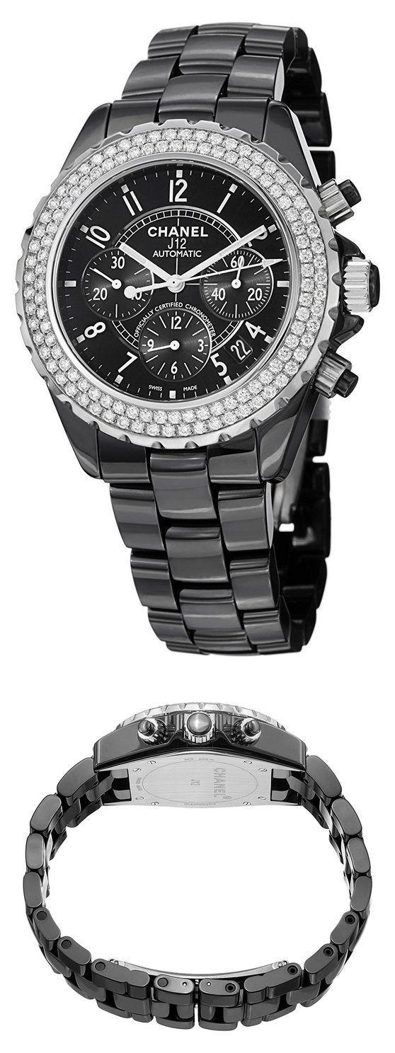 32f7396463f3 Chanel J12 Black Ceramic Automatic Chronograph Diamond Watch H1009  watch   chanel  wrist watches  watches  women  departments  shops