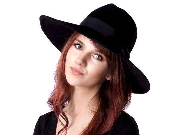 e4d562f28b9e6 Wide Brimmed Hat Black Fedora Hat Fall Fashion Fall Accessories Wide  Brimmed Fedora Fall Hat Women s
