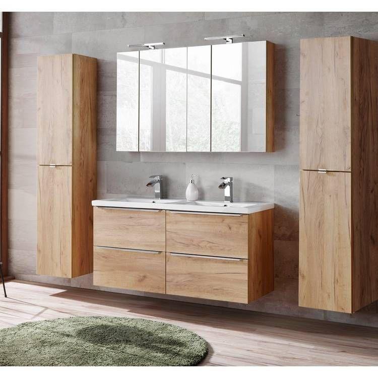 Badmöbel Set mit Doppel-Keramikbecken und 2 Spiegelschränken TOSKANA-56 Wotaneiche BxHxT ca. 230/190/46cm