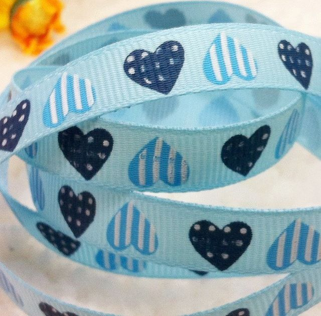 Free shipping Blue color 3/8'' (9mm) heart printed ribbon Polyester Grosgrain Ribbon DIY hairbows accessories Kids gift package