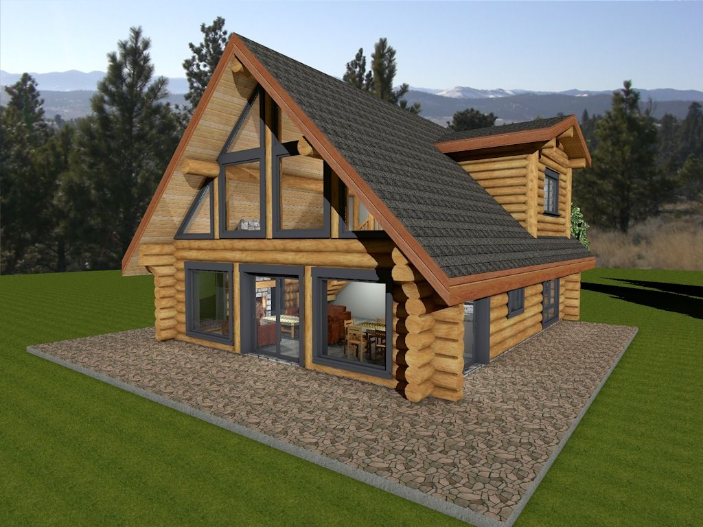 Log Cabin Plan With Two Floor Plan Options. Log Package Price For  Handcrafted Log House