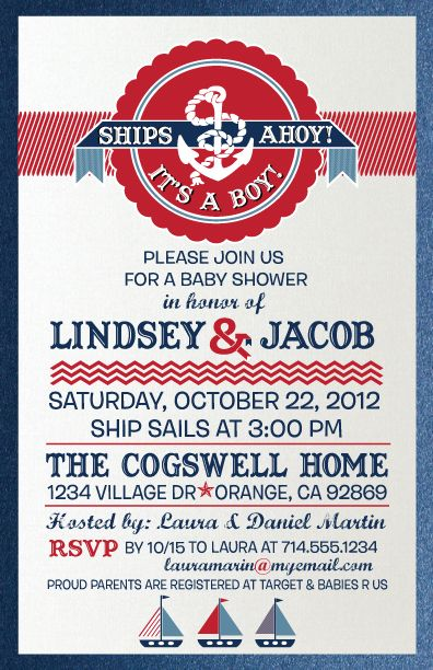 Larger Image Ahoy Itu0027s A Boy Nautical Baby Shower Invite Model: DI 4516 Add