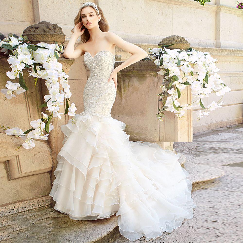 Mermaid ruffle wedding dress  Luxury Mermaid Bridal Gown with Ruffles Sweetheart Casamento