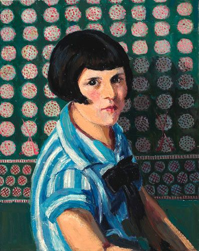 Laura Hoernig American Portrait Of A Girl Early 20th Century Portrait Painting Artist Painting