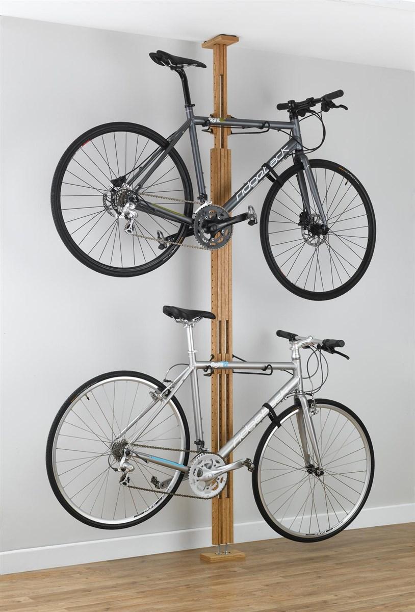 OakRak Floor To Ceiling Red Oak 2 Bike Rack