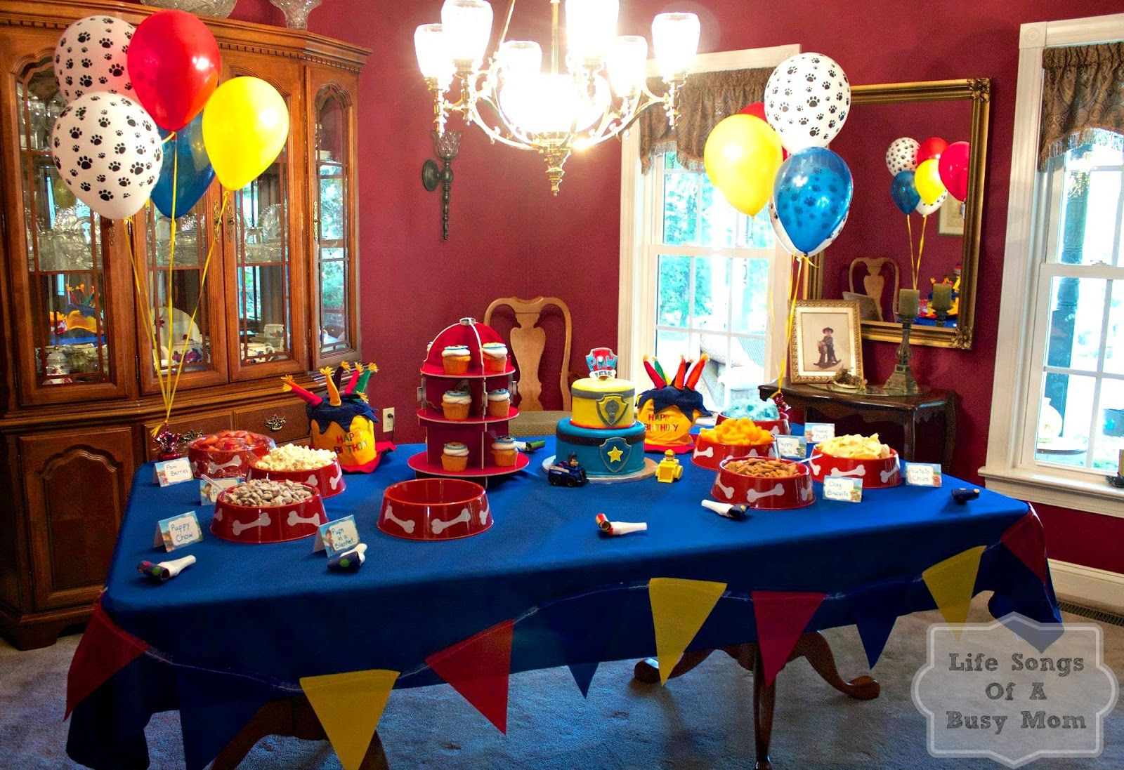 Life songs of a busy mom paw patrol birthday party for Decoration 4 life