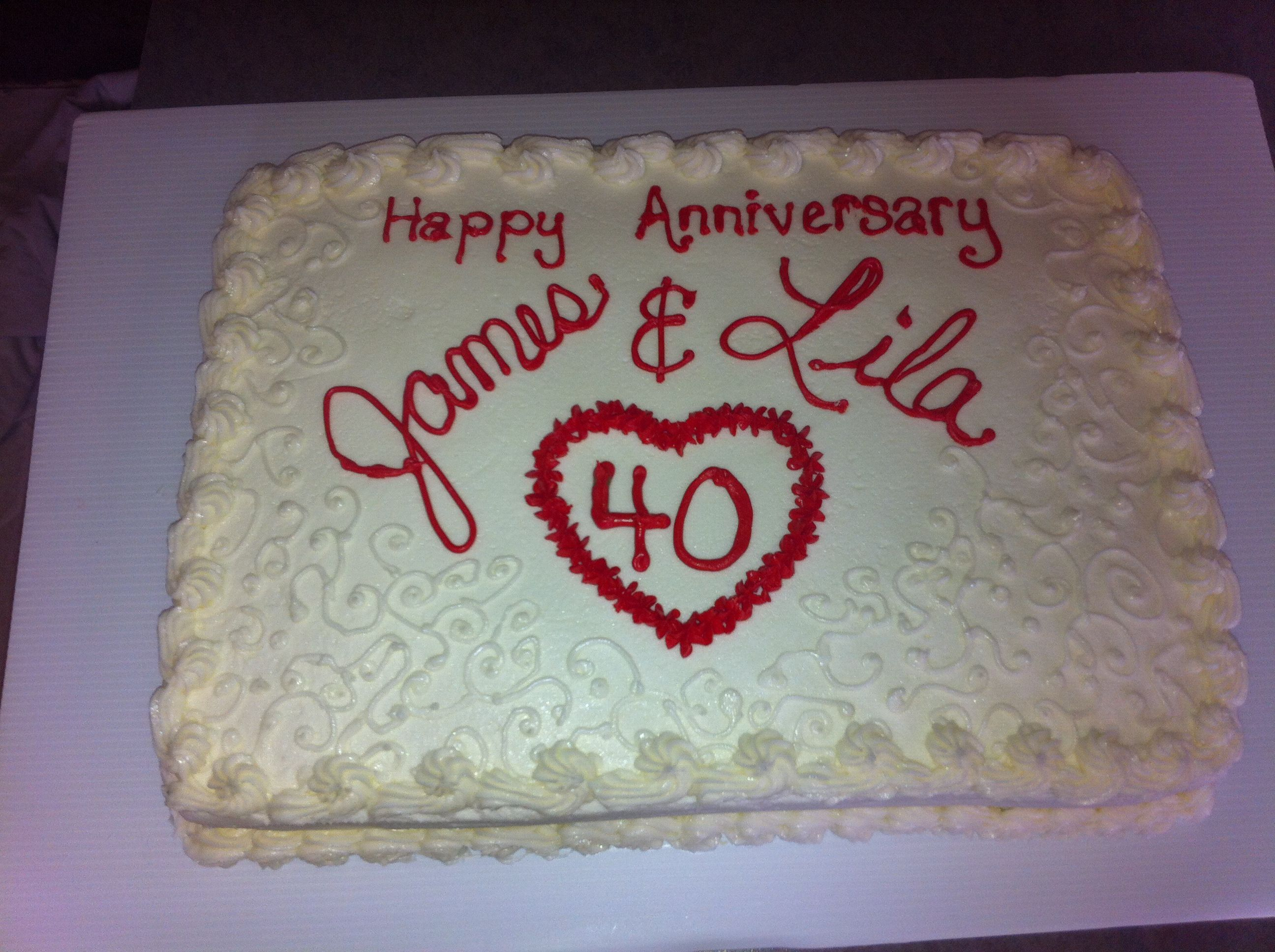 40th Anniversary Sheet Cake With Images 40th Anniversary Cakes