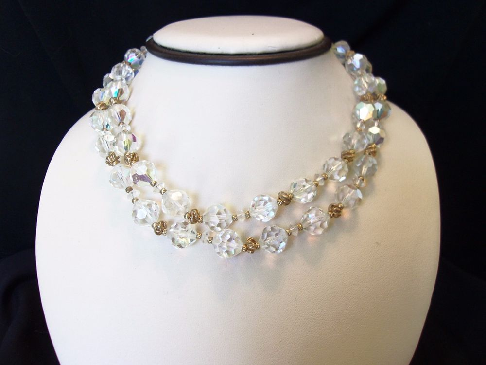 Vendome Vintage Aurora Borealis Crystal Glass Gold Bead Plate Collar Necklace  #Vendome #Collar