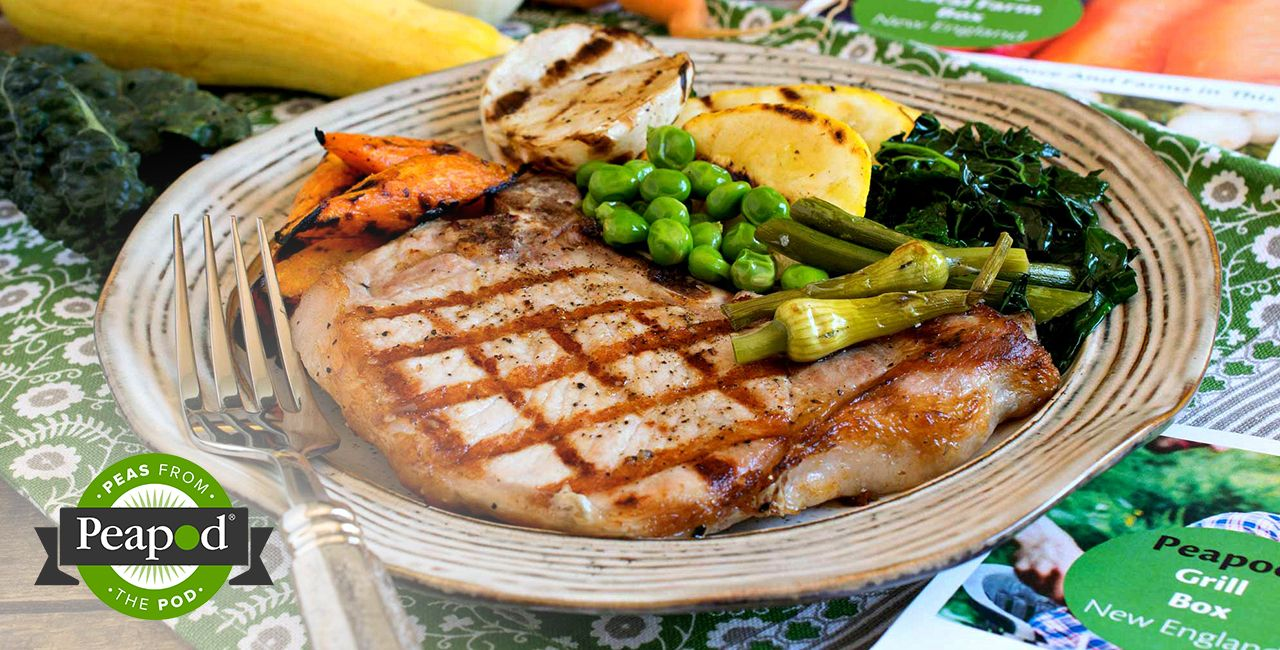 Photo of Grilled Pork Chops with Grilled Vegetable Medley Recipe from Peapod