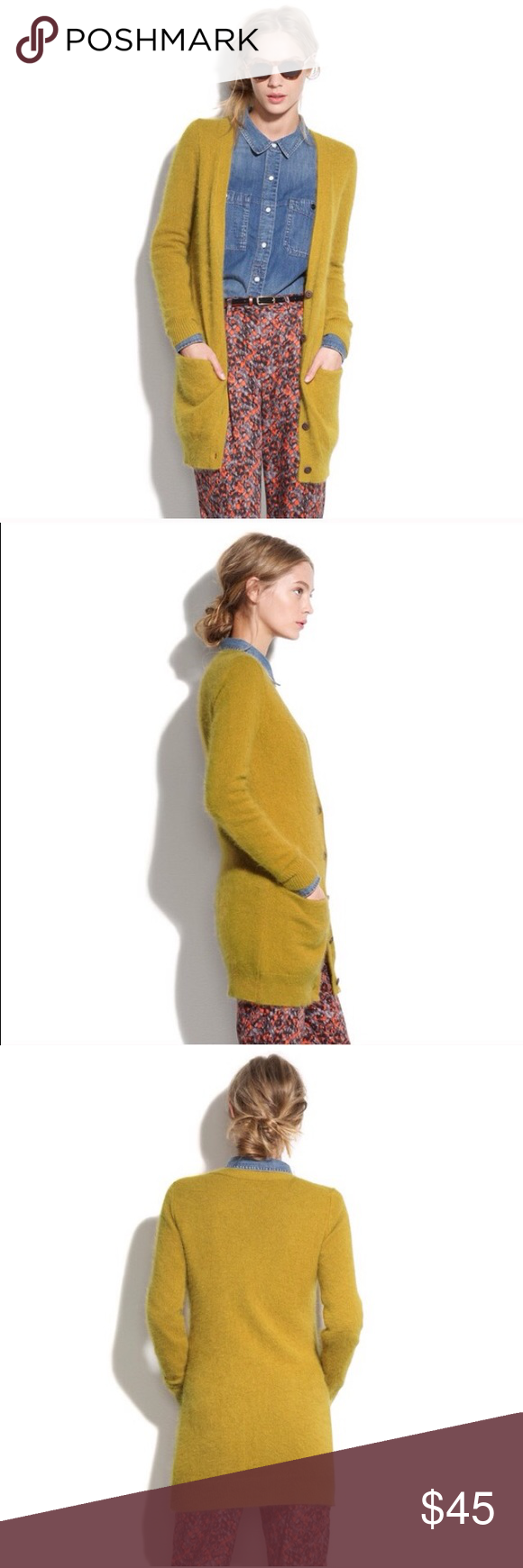 """MADEWELL mustard angora sweater MADEWELL """"silk stone"""" sweater. Sold out online. Super super soft. Reposhing, worn once but not a good color for me. Does look adorable matched with denim & red. Wallace brand by MADEWELL. Madewell Sweaters Cardigans"""