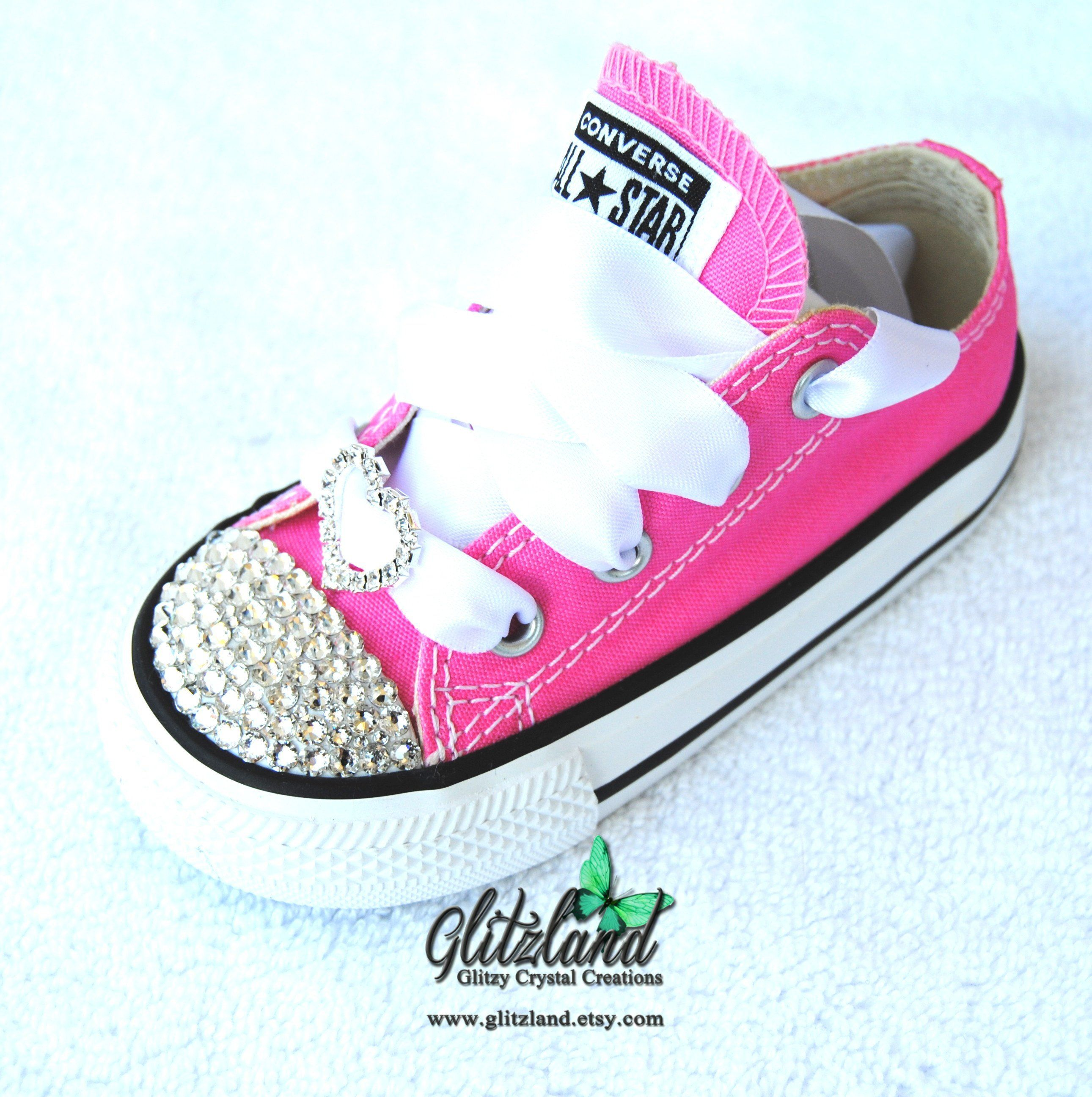 9645d23e9368 New At Glitzland  SWAROVSKI® Converse Toddler Chuck Taylor Canvas Sneakers  Customized With Clear SWAROVSKI