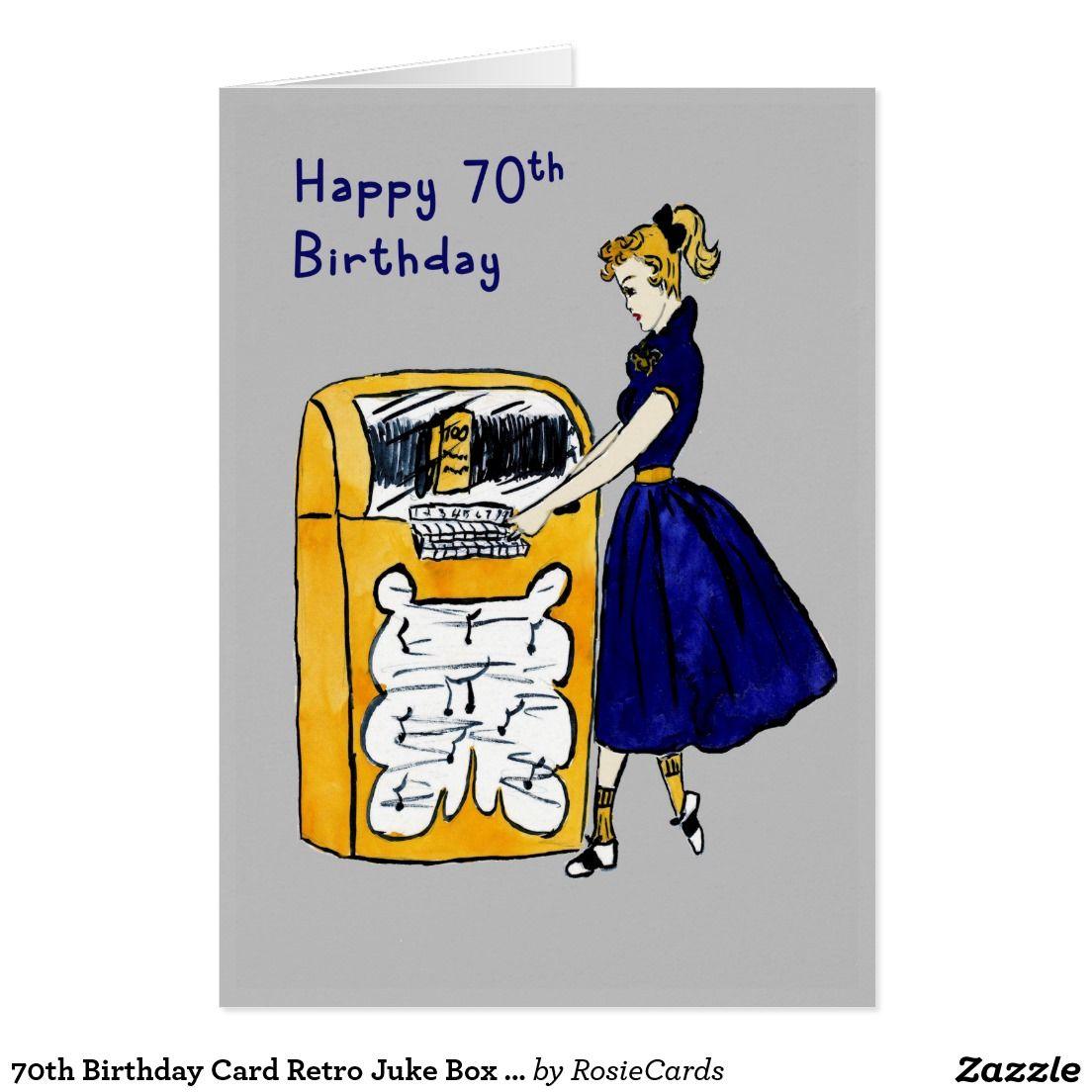 70th Birthday Card Retro Juke Box Lady Rosie Cards Birthday