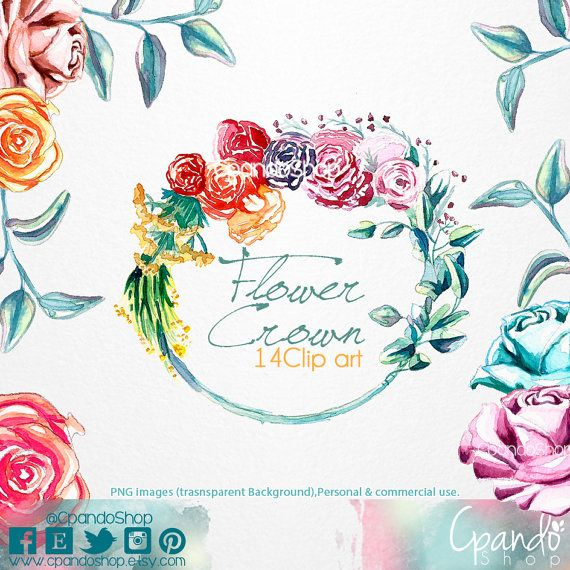 Flower Crown 14 Png Images With Transparent Background 300 Etsy Paper Clip Art Vector Flowers Flower Crown