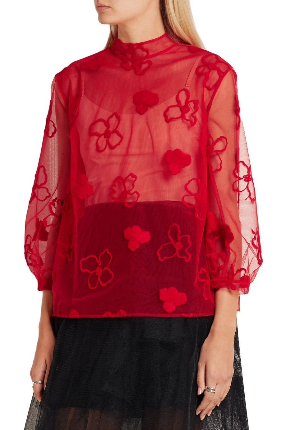 Shop on-sale Simone Rocha Embroidered tulle blouse. Browse other discount  designer Tops &