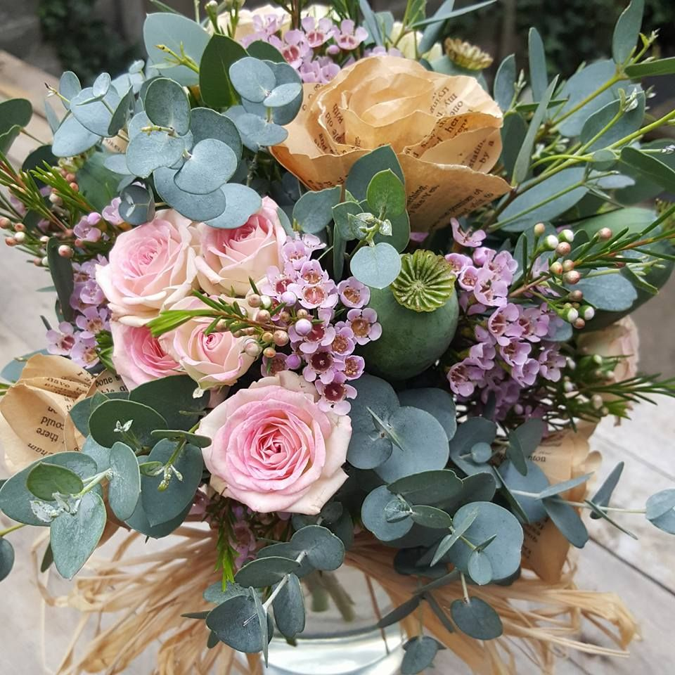 Gorgeous wedding bouquet with real roses wax flower eucalyptus and gorgeous wedding bouquet with real roses wax flower eucalyptus and old book page paper mightylinksfo