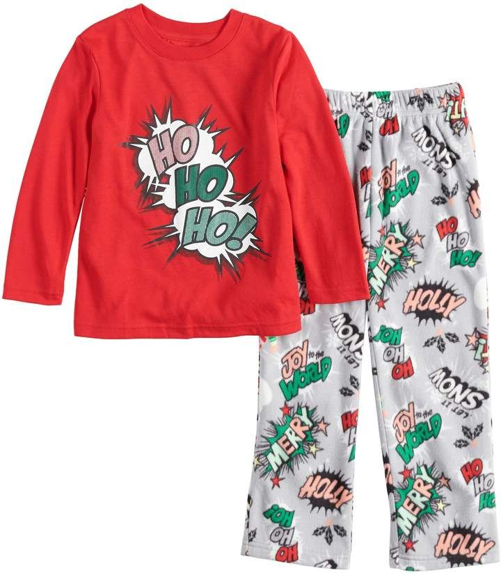 3cd621a292 Toddler Jammies For Your Families Ho Ho Ho! Comic Book Top   Microfleece  Bottoms Pajama