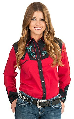 a56ef006dbe1e Wrangler Women s Red with Floral Embroidered Yokes Long Sleeve Retro  Western Shirt
