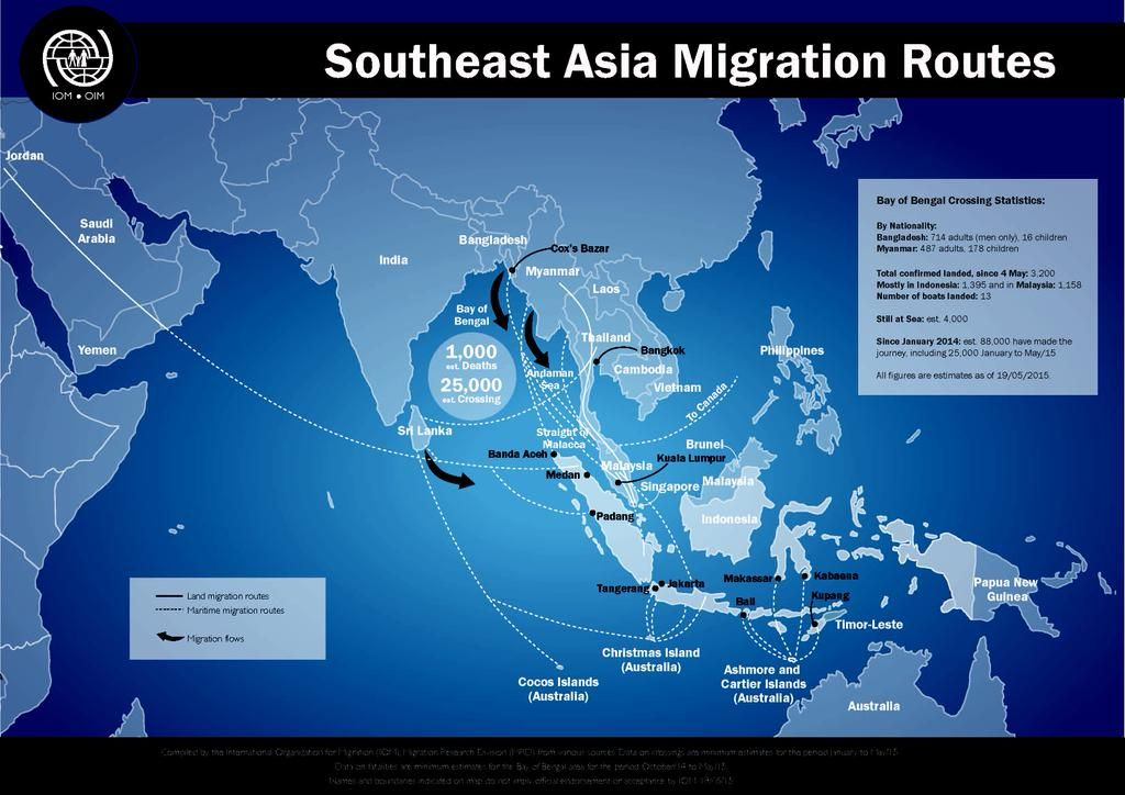 Map Of Africa And Asia%0A Map from  IOM news on South East Asia Migration Routes http   www