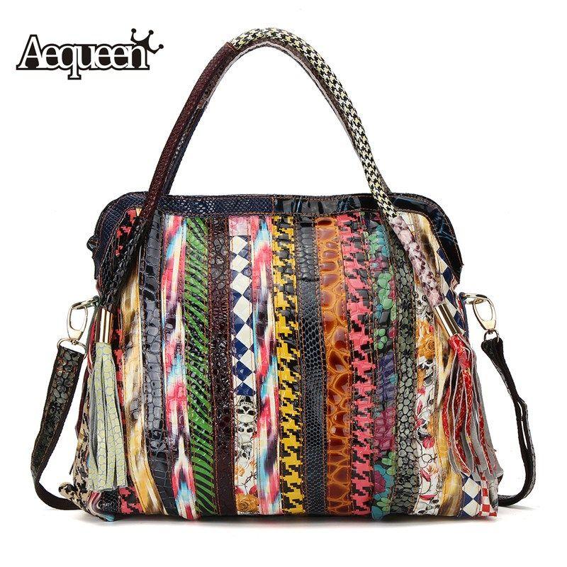 67c9a953f9 AEQUEEN Genuine Leather Women Handbags Large Capacity Patchwork Striped  Shoulder Bag Ladies Vintage Crossbody Bags Random