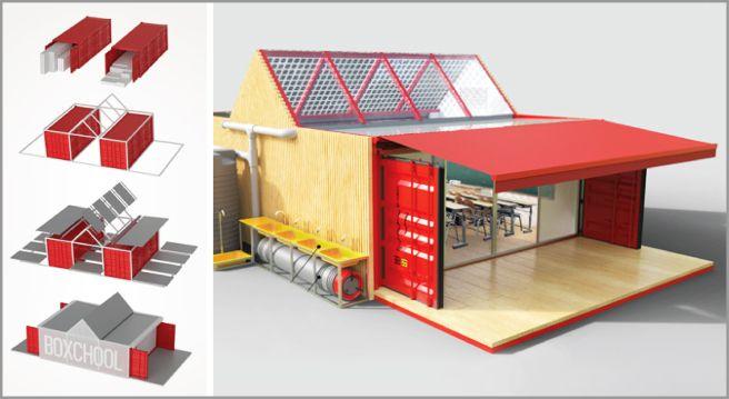 Concu Par Id Im Studio Design Boxchool Est Une Ecole Modulaire Container Destinee Aux Pays En V Maison Container Architecture De Conteneurs Amenagement Maison