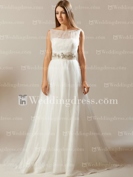Tulle A-Line One Shoulder Bridal Gown with Sash BC347N