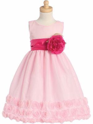 7f0952d054 Pink Blossom Tulle Dress w  Floral Ribbon Edge   Detachable Sash   Flower - Flower  girl dress