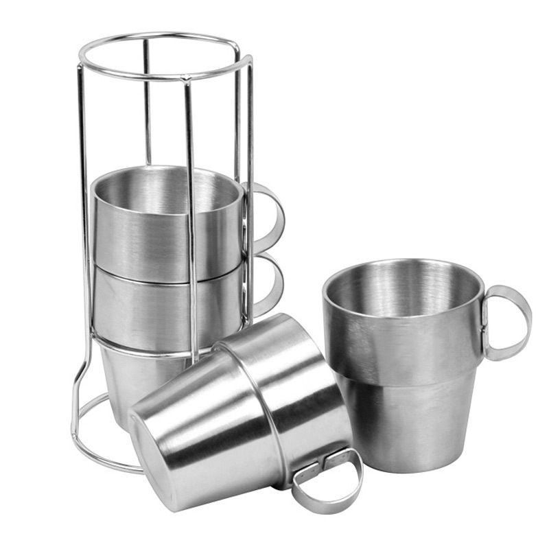 4 pcs outdoor portable picnic cups stainless steel