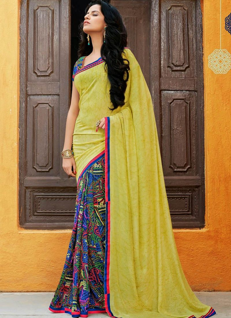 Yellow silk saree yellow printed art silk saree  things to wearsarees  pinterest
