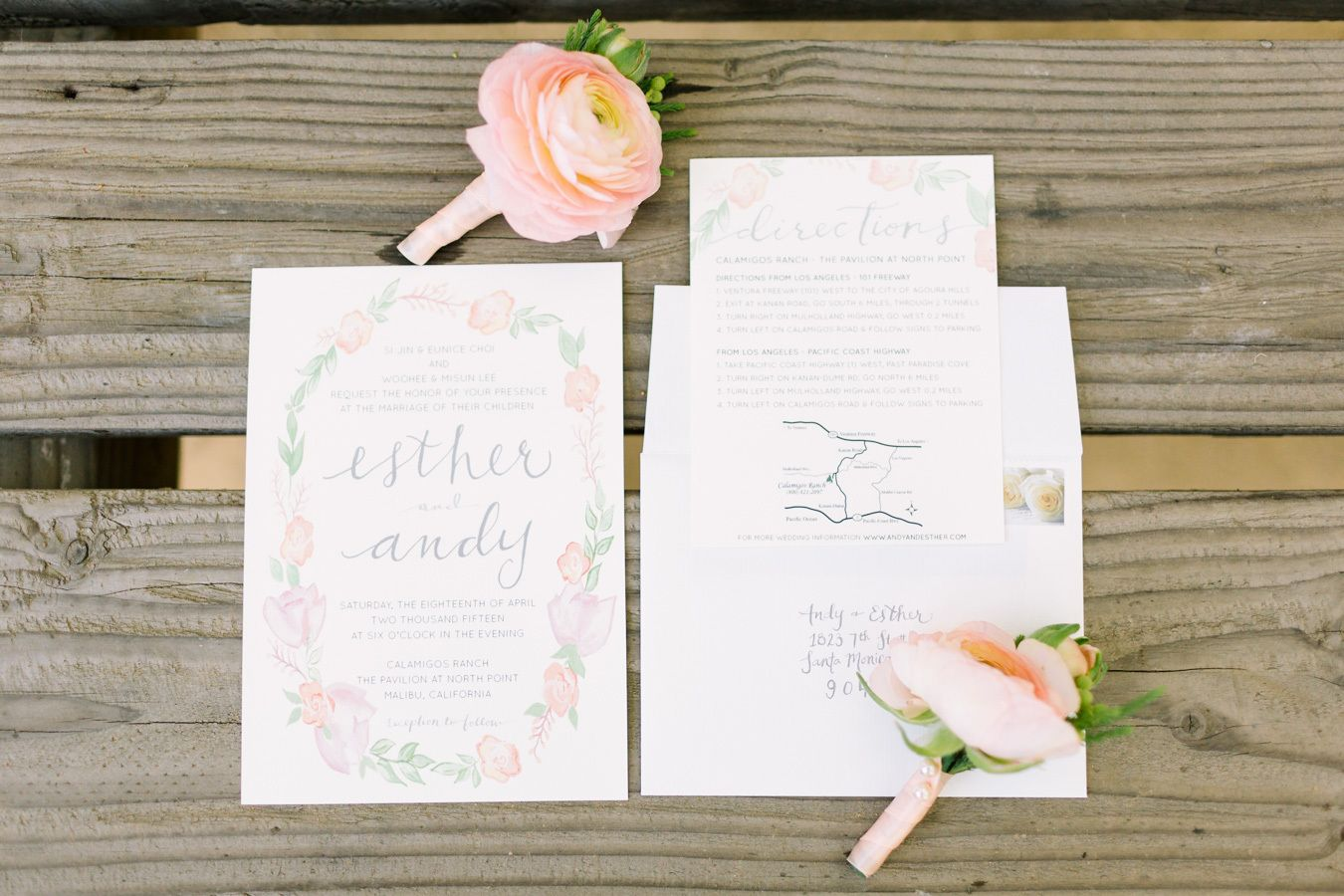 Romantic Summer Wedding at Calamigos Ranch | Invitation suite ...
