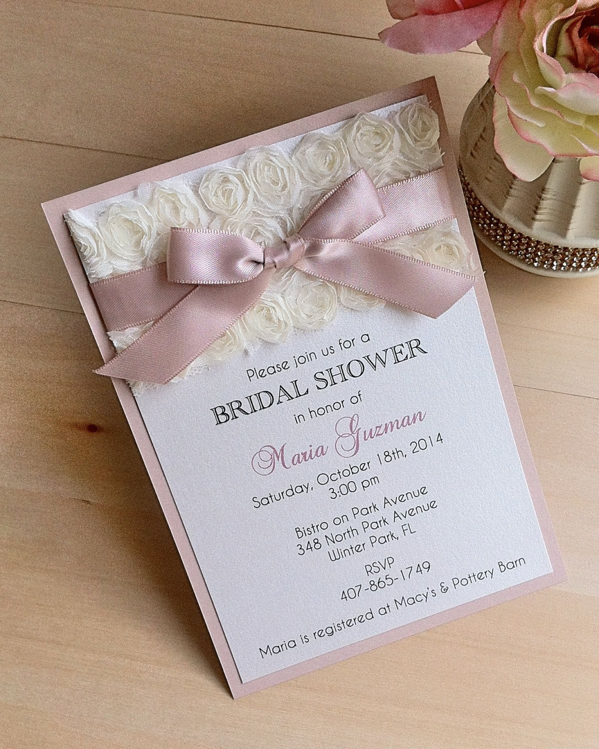 unique homemade baby shower invitation ideas%0A Rosette Bridal Shower Invitation with Nude Blush Ribbon  Baby Shower  Invitation  MARIA
