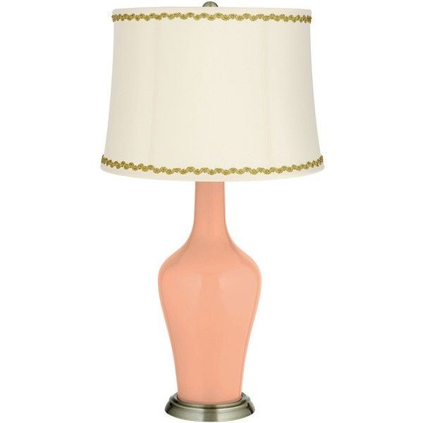Color Plus Mellow Coral Anya Table Lamp With Relaxed Wave Trim