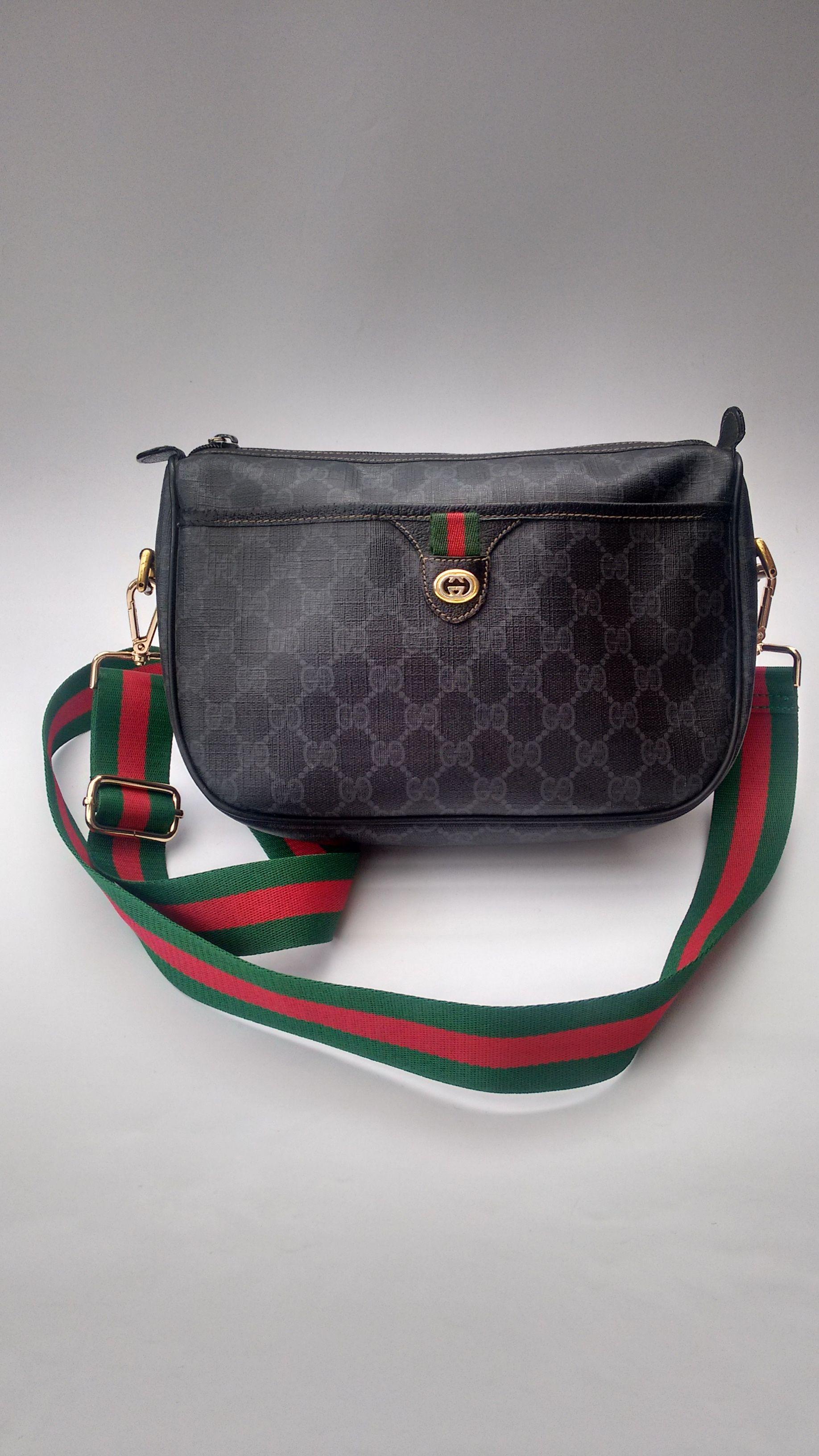 0fc2bd6c1a0c11 GUCCI Bag. Gucci Vintage Ophidia Monogram Black Web Shoulder / Crossbody Bag.  Italian Designer Bag.