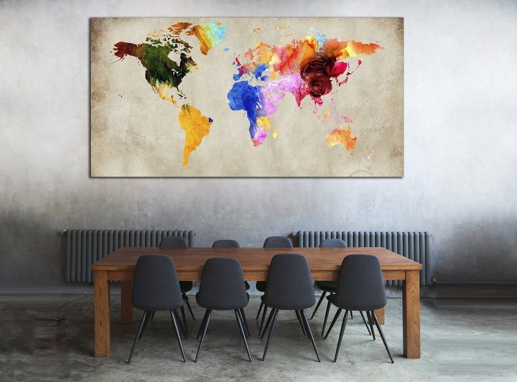Colorful world map 870 canvas print zellart canvas arts living colorful world map 870 gumiabroncs Images