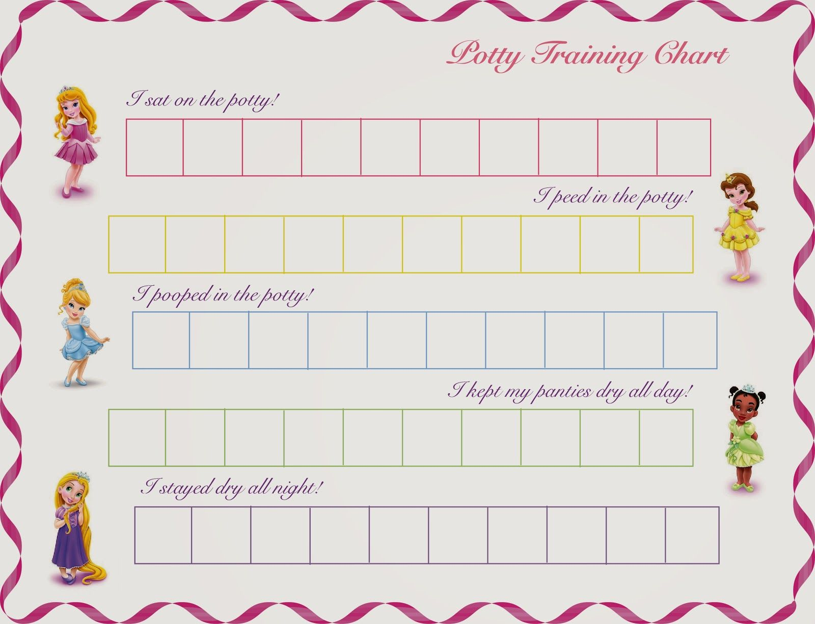 disney princess printable potty training chart by hot commodity
