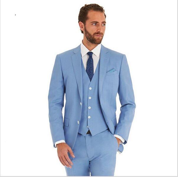 Aliexpress.com : Buy Baby Blue Groom Suits Three Pieces Groom ...