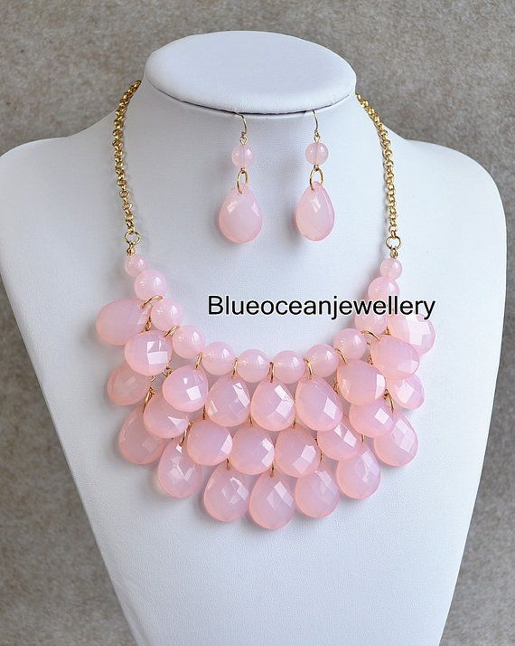 3 Layers Bubble Necklace Pink Bib Necklace by Blueoceanjewellery, $12.90