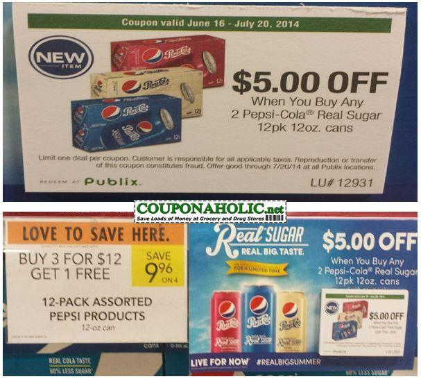 Buy 12 Pepsi Cola 12pks On Sale 4 12 Use One 5 30 Winn Dixie Store Coupon Use Six 5 2 Pepsi Cola Real Sugar 12pk 12oz Cans Pepsi Cola Publix Store Publix