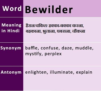 Bewilder Meaning In Hindi English Vocabulary Pinterest English