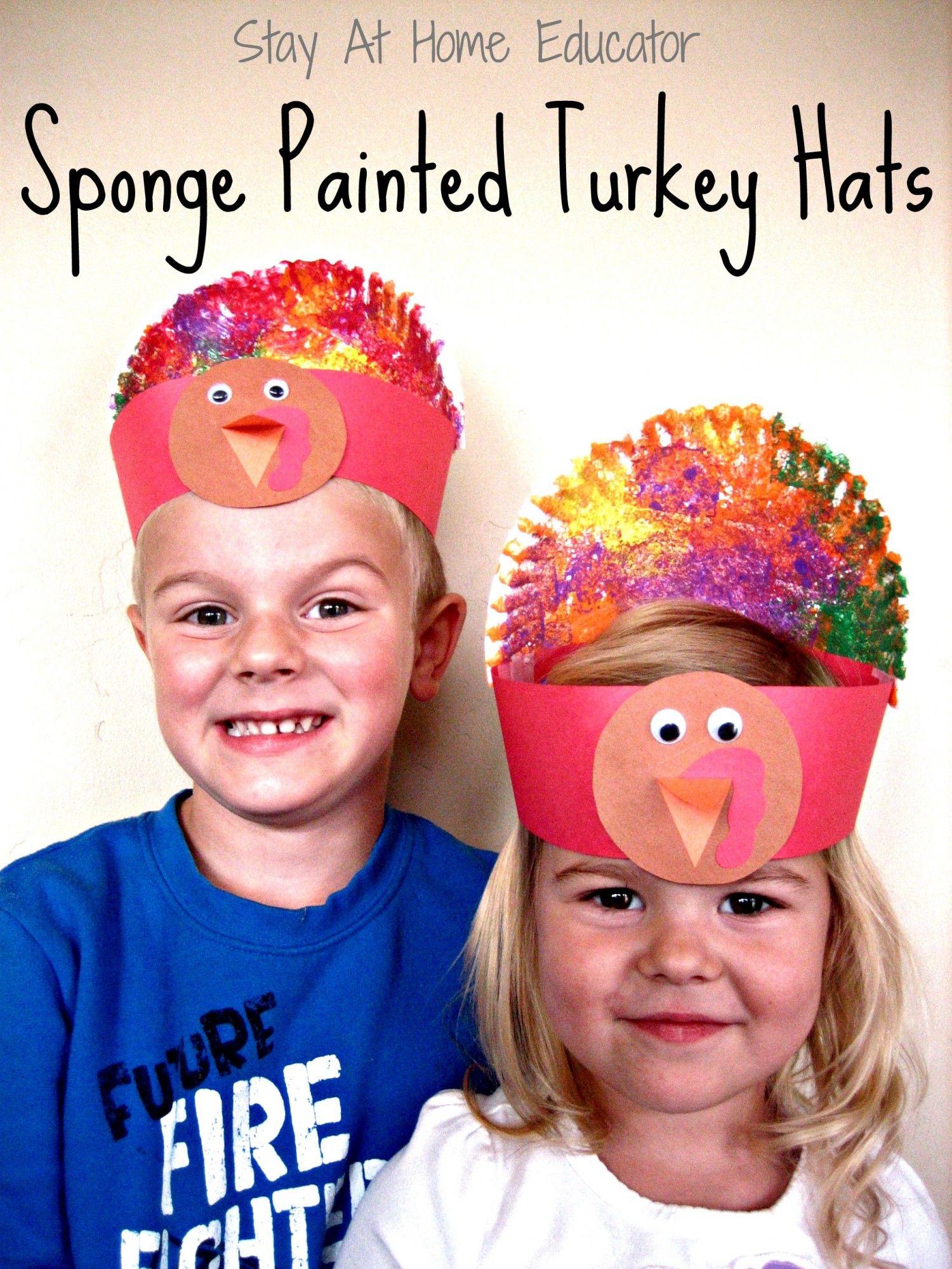 Sponge Painted Turkey Hats