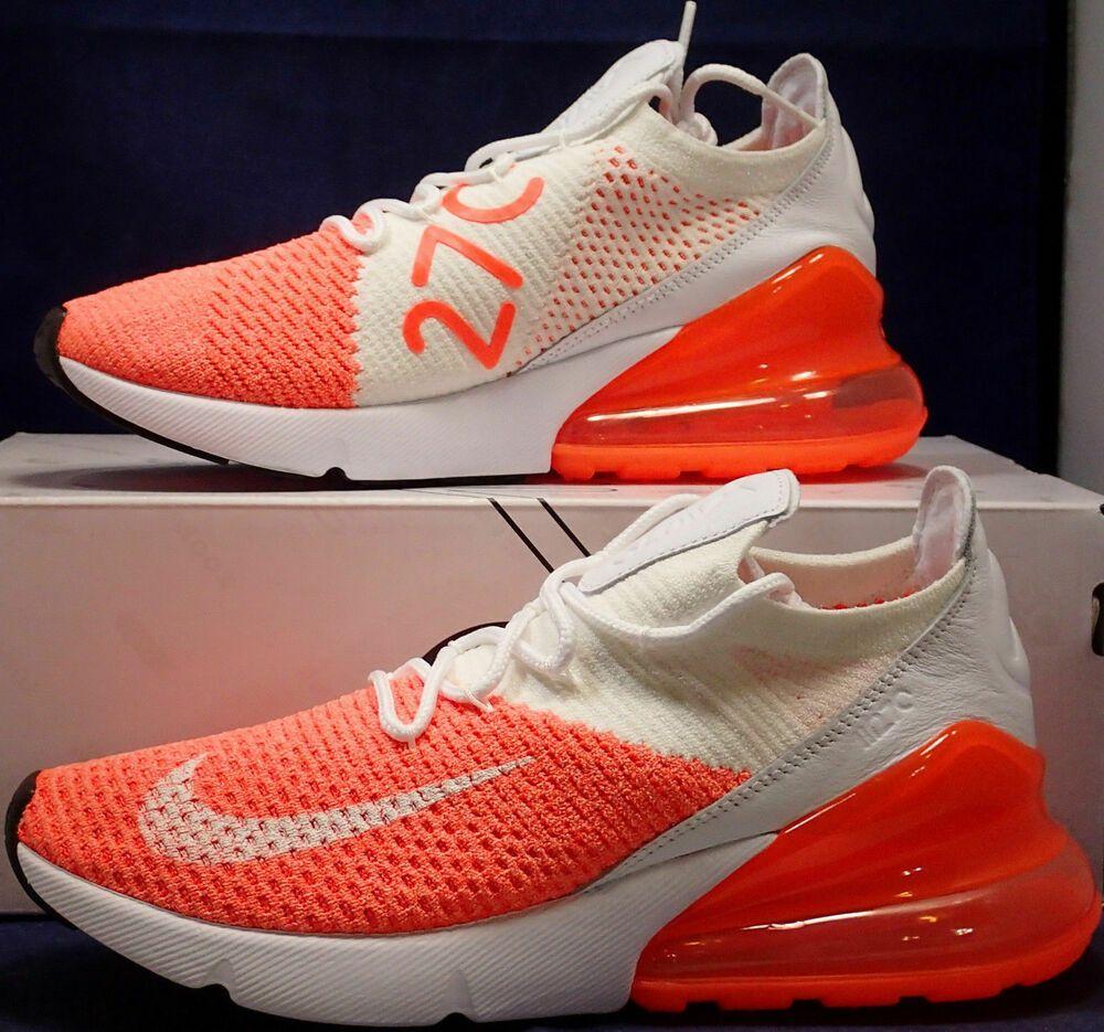new product 78f5d baa49 Womens Nike Air Max 270 Flyknit Crimson Pulse White SZ 10 ...