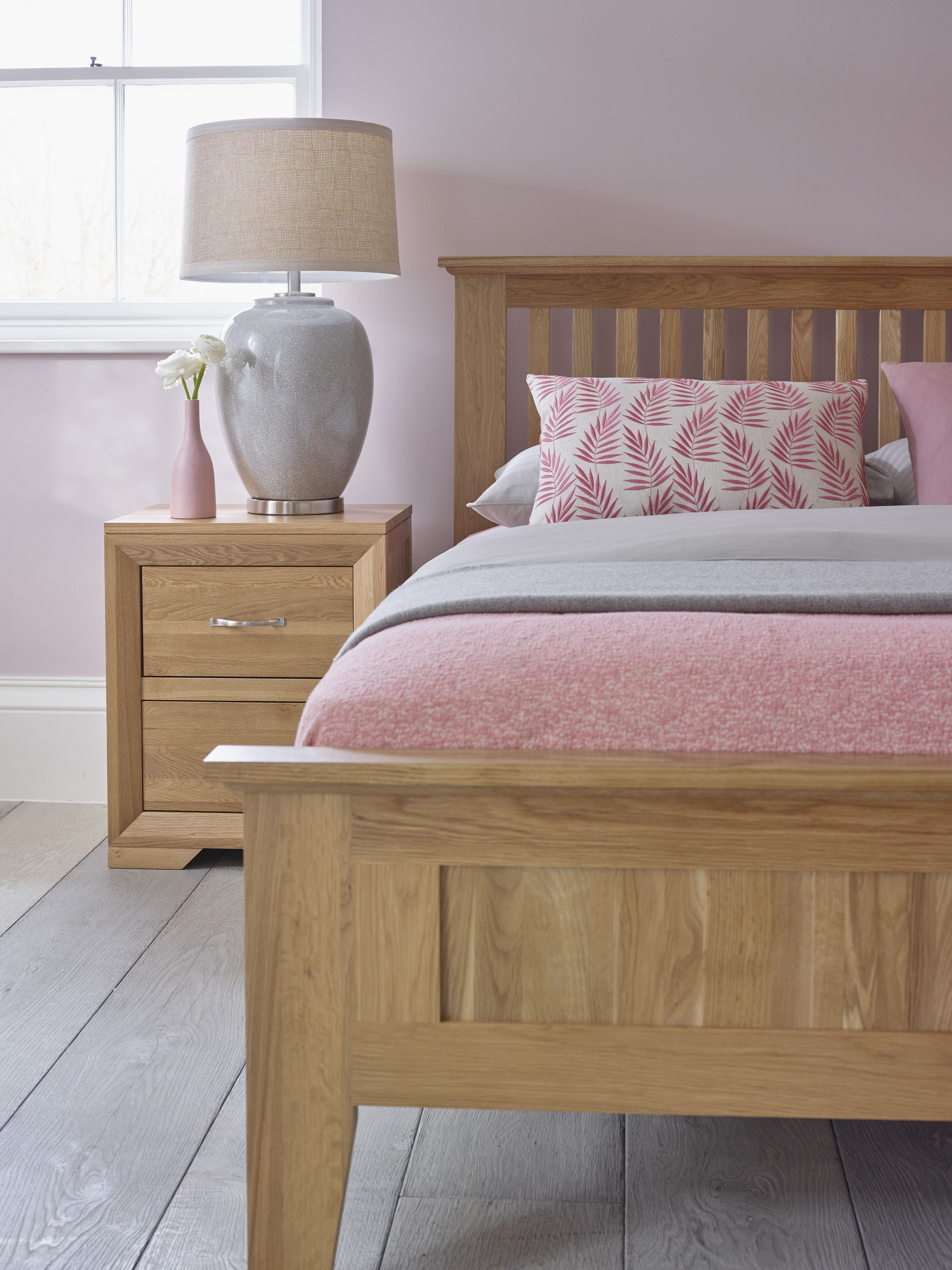 Pink Tones Working Beautifully With The Bevel Collection Oak Bedroom Furniture Solid Oak Beds Pink Room